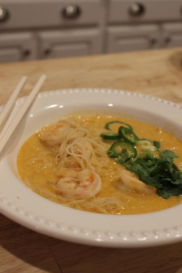 Thai Curry Noodle Soup with Shrimp