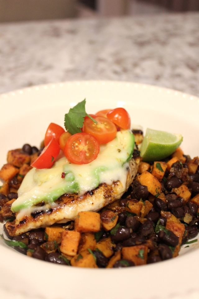 Avocado Pepper Jack Chicken with Sweet Potato Black Bean Hash