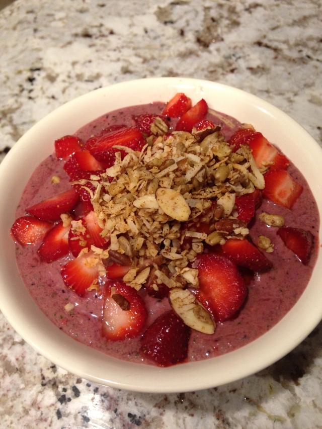 Smoothie Bowl with Strawberries and Grain-Free, Sugar-Free Granola