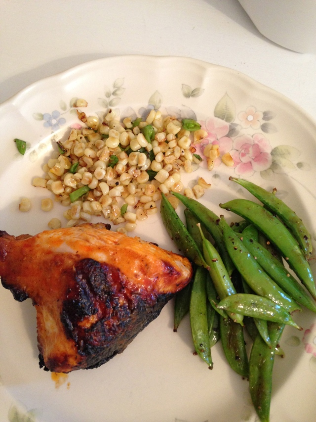 Summer Meal: BBQ Chicken, Snap Peas, Corn