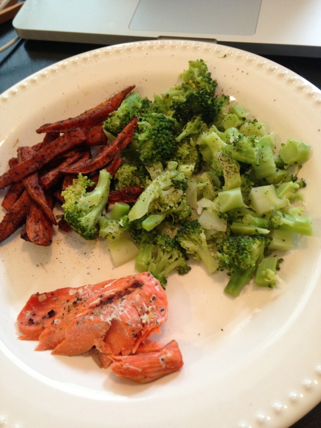 healthy salmon dinner: sweet potato fries, steamed broccoli, salmon