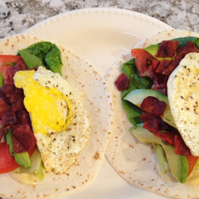 BLT wrap with avocado and fried egg