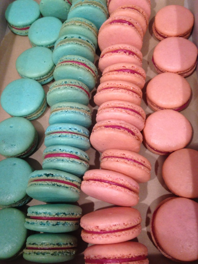 pink and blue berry macarons for a gender reveal party