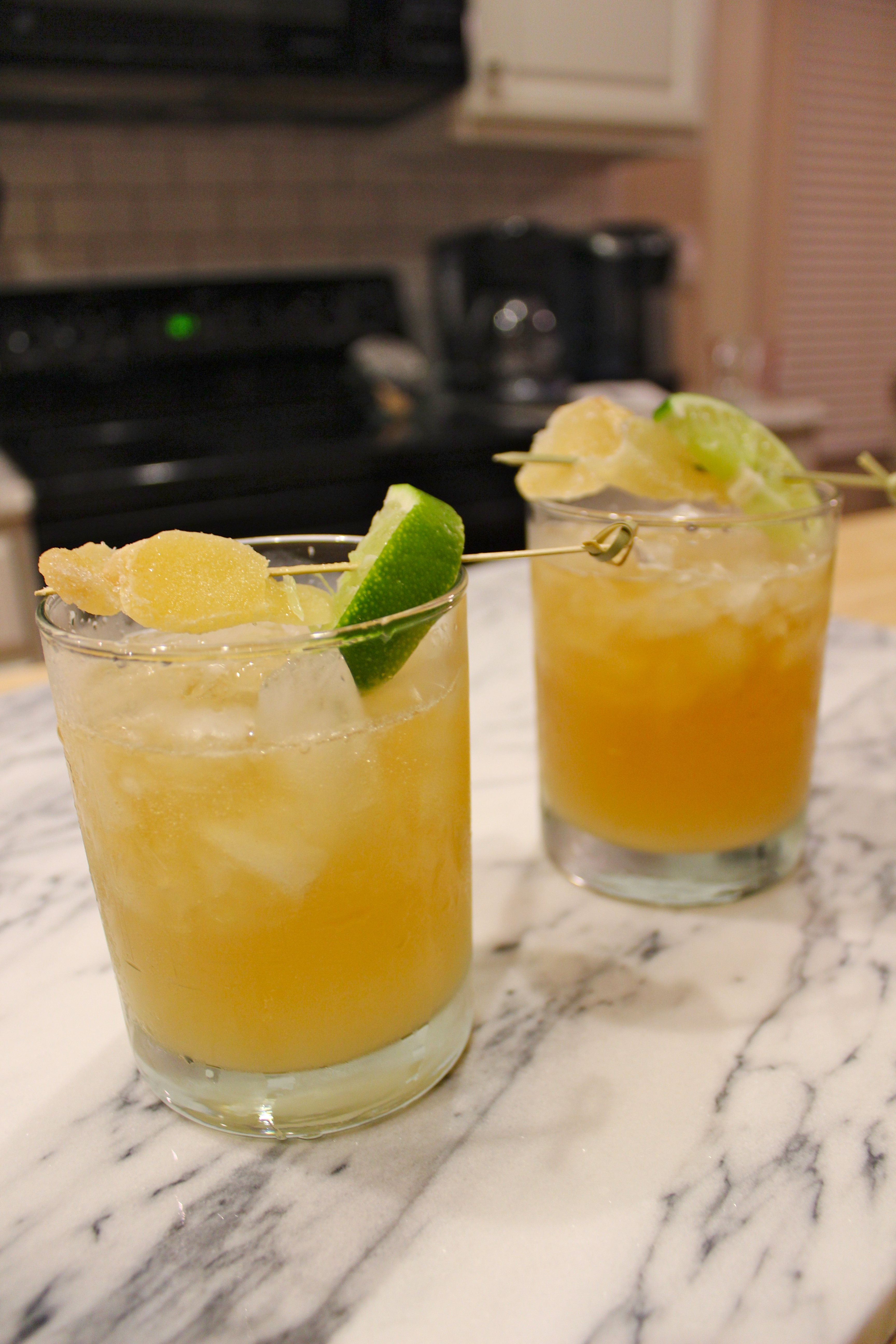 Dark and Stormy cocktail with fresh ginger