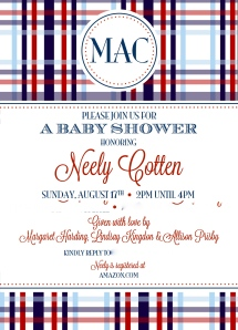 baby boy shower invitation; madras red and blue plaid
