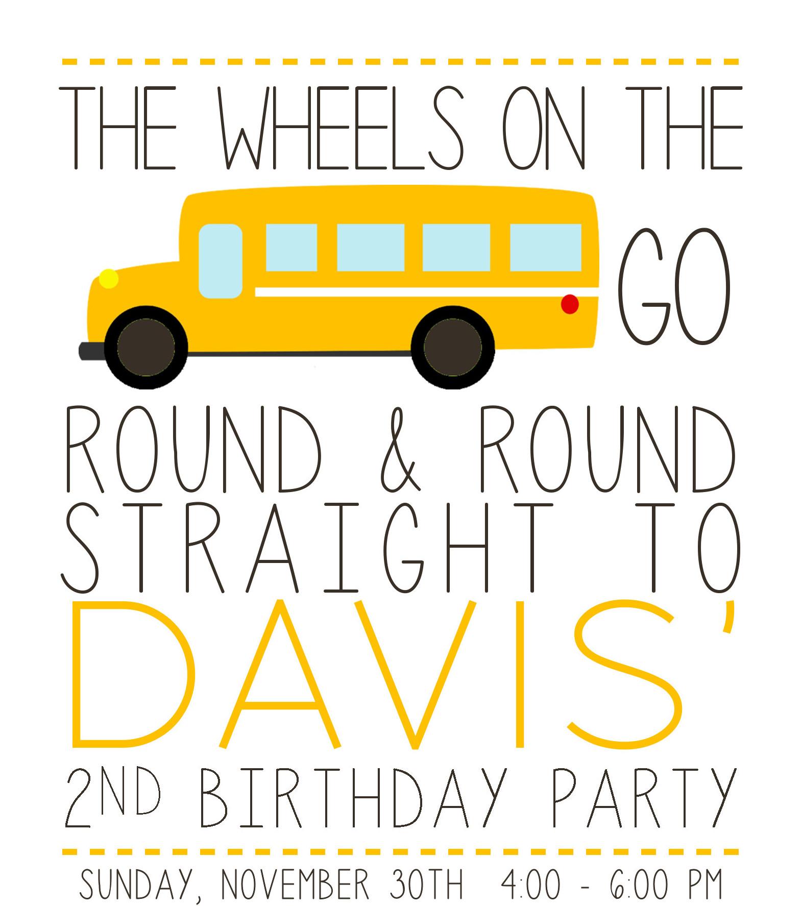 school bus 2nd birthday party