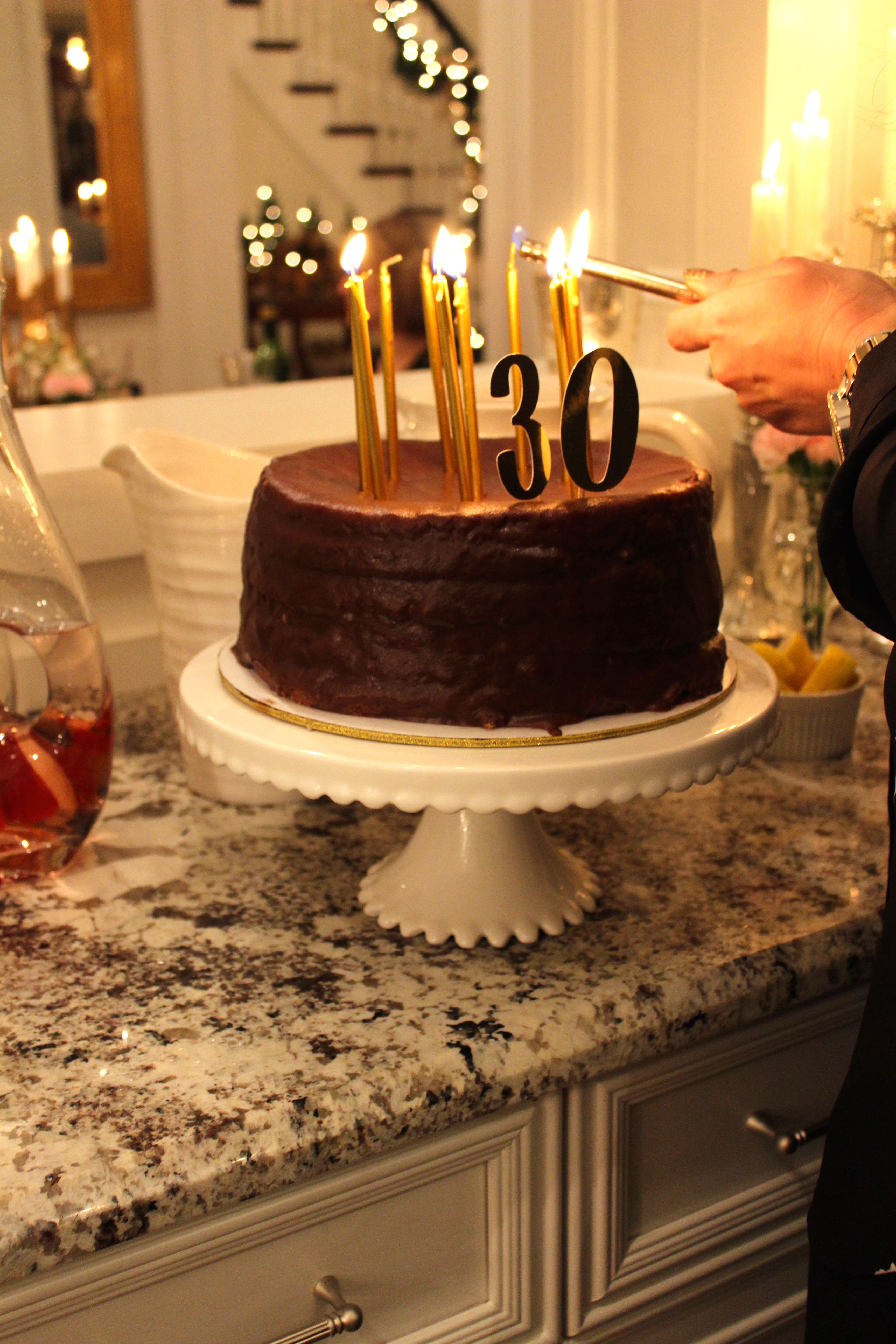Gluten Free Chocolate Birthday Cake With A Gold 30 Topper And Candles