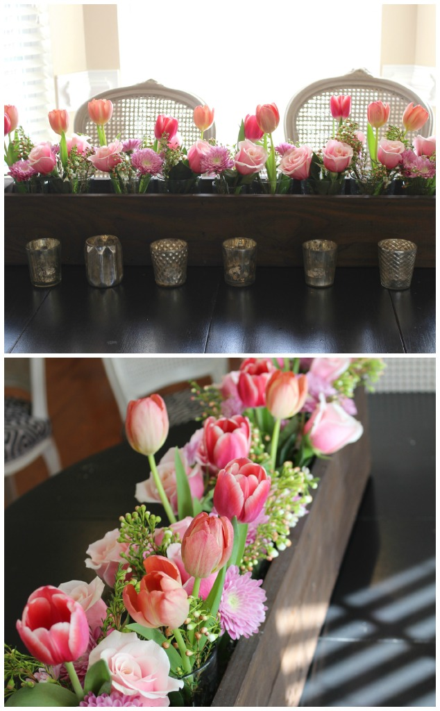 pink florals in rustic wooden box