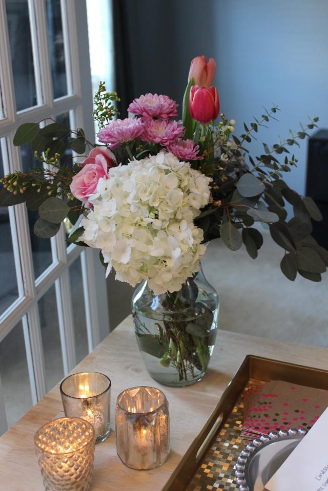 floral arrangement: hydrangea, tulips, roses, eucalyptus
