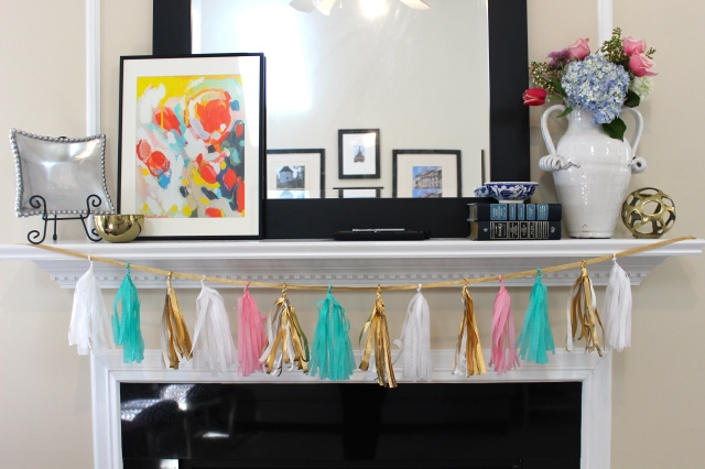 turquoise, gold, white, pink tassel garland for a baby shower
