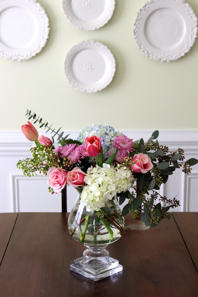 flower arrangement with hydrangea, tulips, roses, eucalyptus