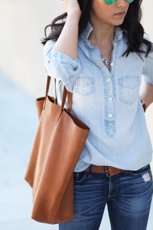 denim on denim with caramel accessories