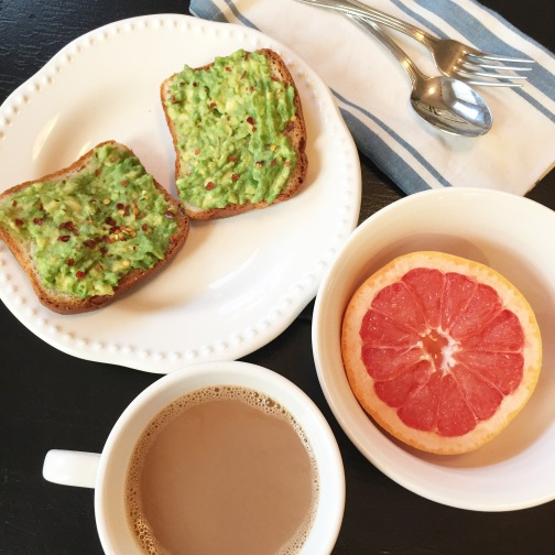 healthy breakfast idea; avocado toast and grapefruit
