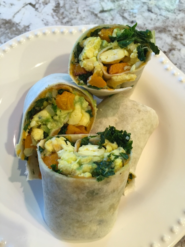 breakfast wrap with egg, vegetables
