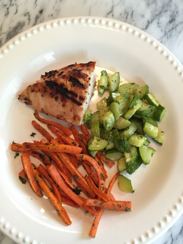 roasted carrots and zucchini with parsley; grilled chicken; CSA