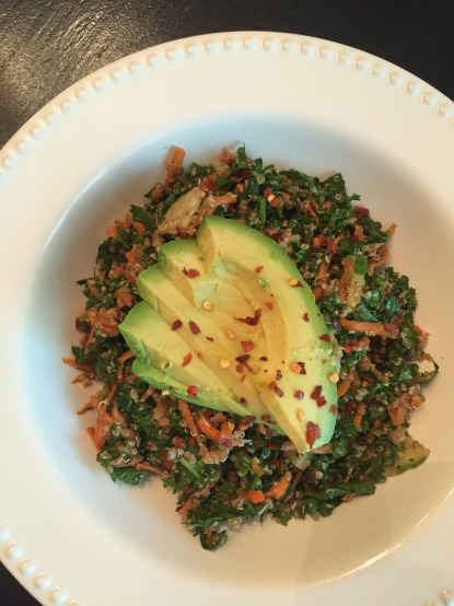 kale and quinoa salad with avocado