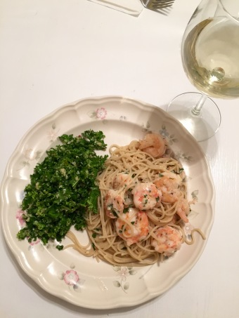 shrimp scampi; kale salad
