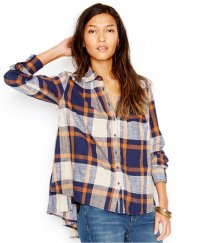navy and white plaid tunic