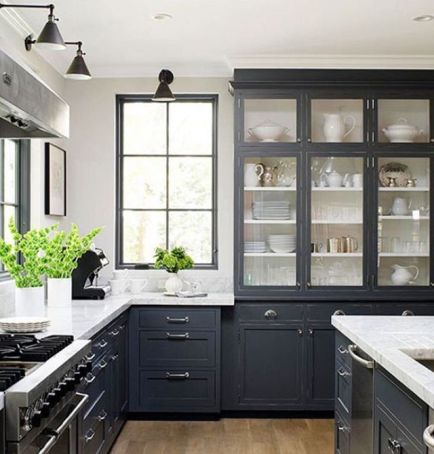 black cabinets in kitchen; becki owens