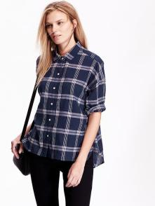 navy plaid oversized shirt