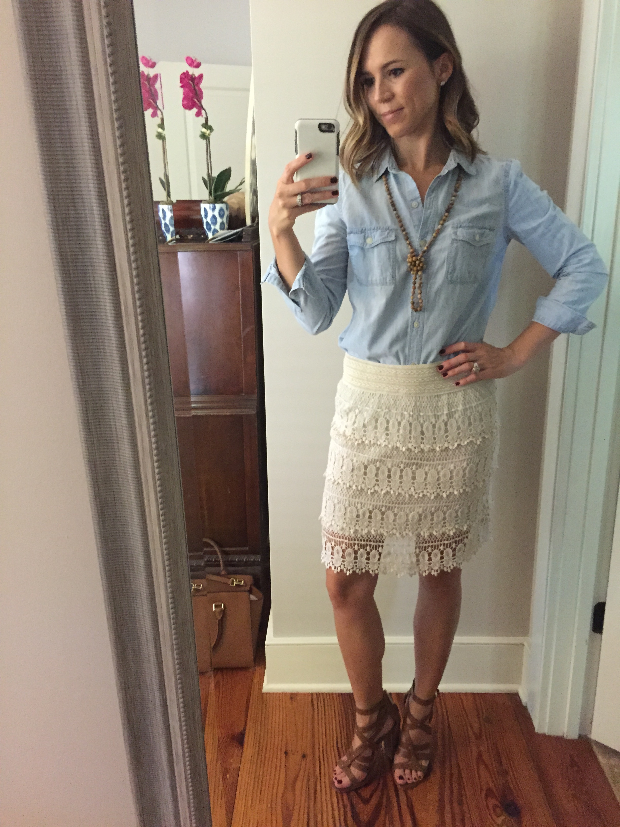 early fall baby shower outfit lace skirt