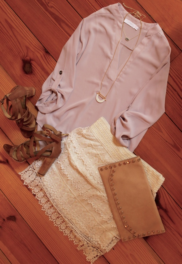 lilac blouse; dolce vita nolin heels; lace skirt; outfit for a baby shower in September