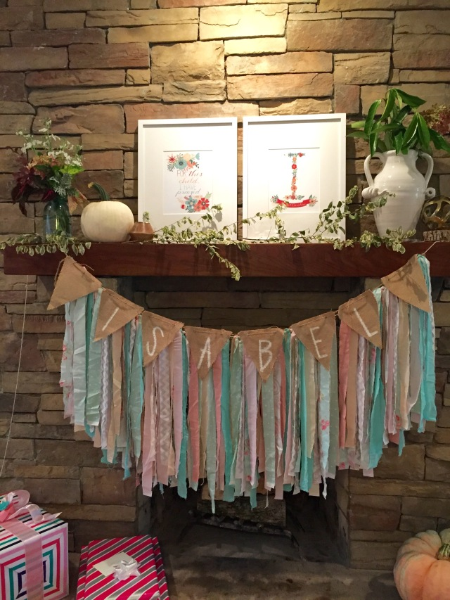 banner from torn fabric and burlap for baby girl shower