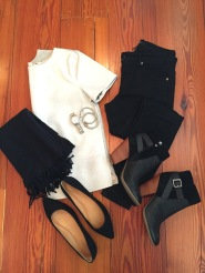 chic fall outfit; black and white outfit