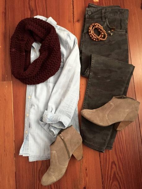 chambray shirt, camo pants, merlot infinity scarf, booties