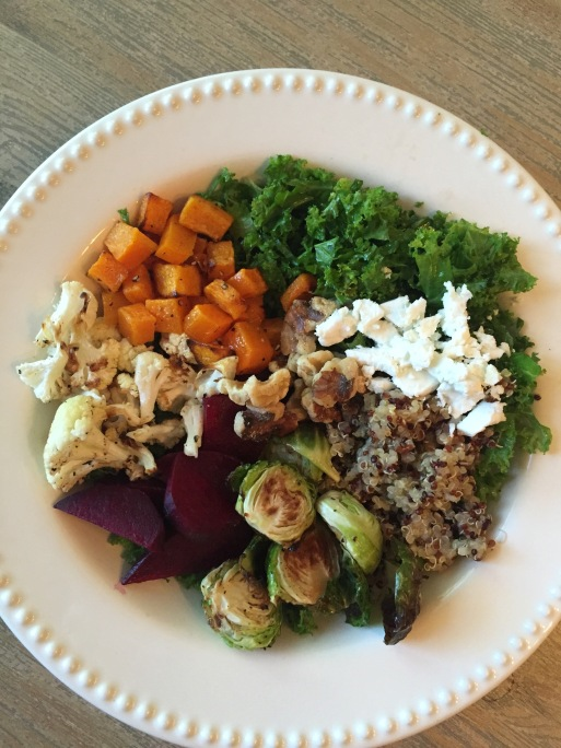 fall salad with roasted vegetables: beets, brussels sprouts, butternut squash, cauliflower, kale, goat cheese