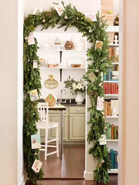 evergreen garland Christmas card display