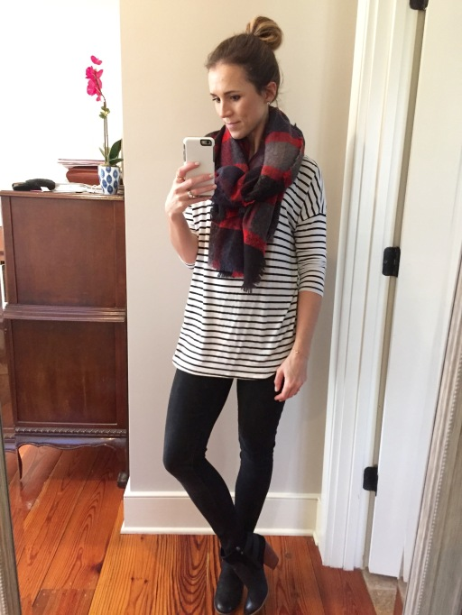 black and white striped t shirt; black legging jeans; plaid scarf