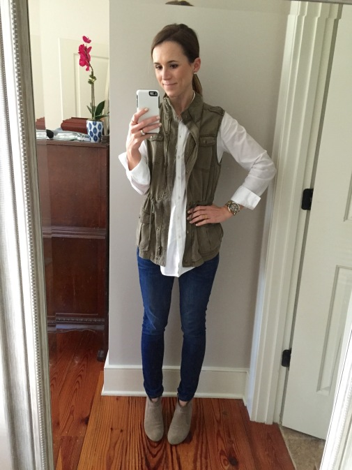 Fall outfit; military vest outfit