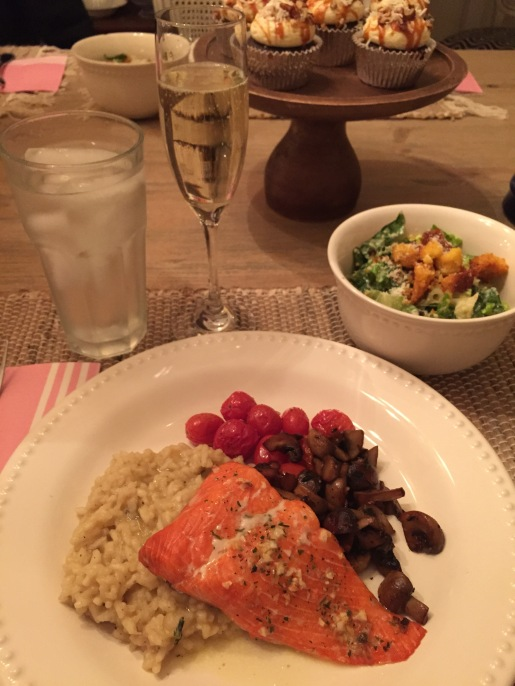 roasted salmon; mushrooms; risotto; caesar salad