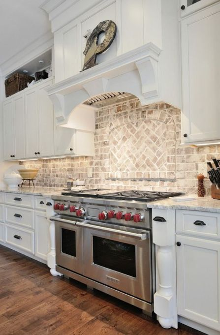 white-washed brick backsplash