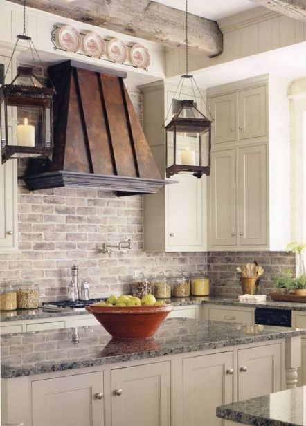light brick backsplash in kitchen