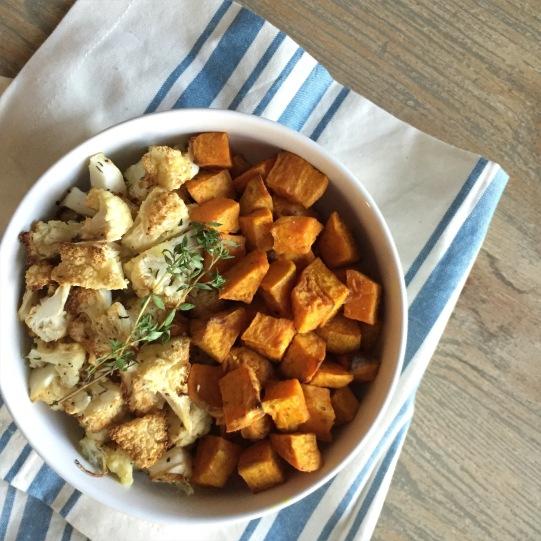 roasted cauliflower and sweet potato