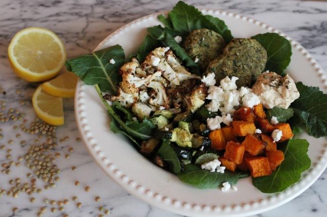 roasted vegetables and lentil falafel