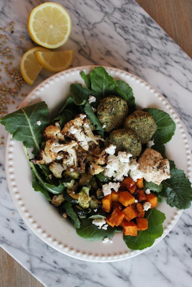 homemade falafel, roasted vegetables, kale