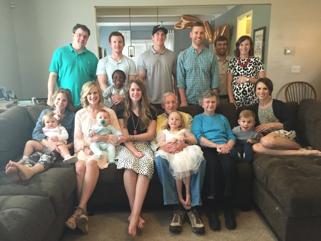 Caroline's baby shower; family picture with grandparents