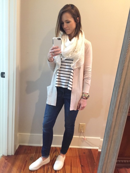 cardigan, striped shirt outfit
