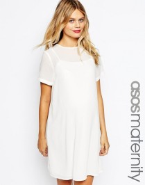 white maternity short sleeve dress