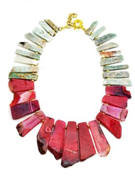 red and aqua stone statement necklace from Teahouse Collection