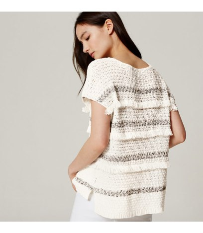 short sleeve fringe sweater