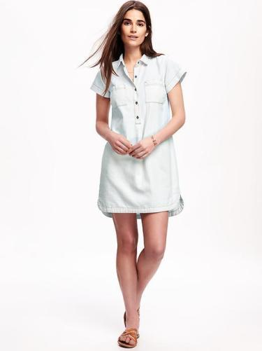 short sleeve chambray shirt dress