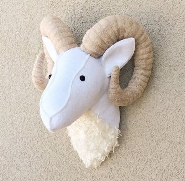 upholstered rams head for children's room wall; etsy