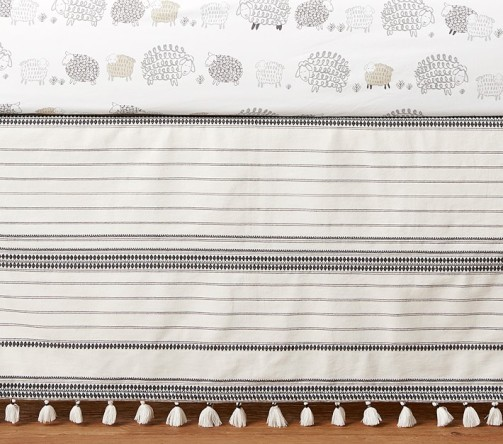 neutral tassel crib skirt