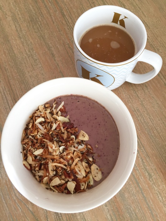smoothie and grain free granola bowl; coffee; healthy breakfast