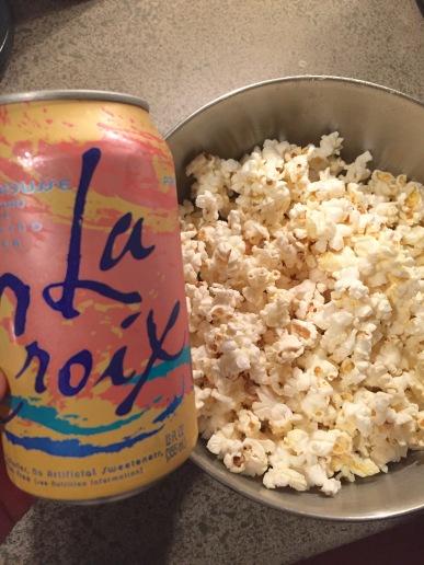 homemade popcorn and La Croix