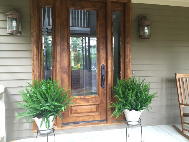 large ferns on front porch